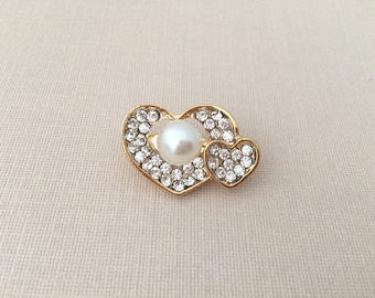 Double Heart Brooch.Small Heart brooch.Small heart pin.Gold Heart Brooch Pin.Rhinestone.wedding.bridal.gold pearl heart.Double heart broach