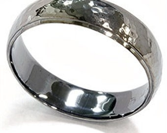 Mens 14K Black Gold 6MM Hammered Wedding Ring Band Size (7-12)