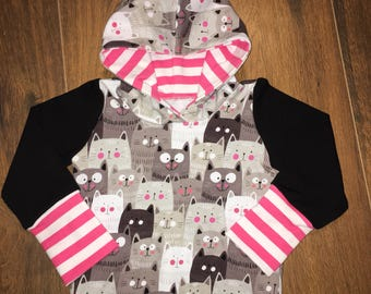 Hoodie evolutionary cat pink