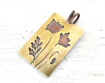 Poppy Pendant Copper and Brass Rectangle Mixed Metal Necklace - MADE TO ORDER