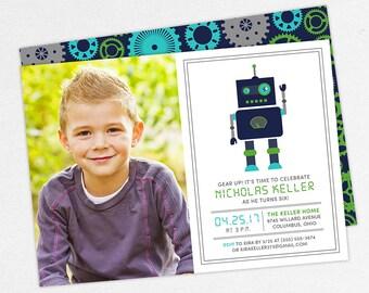 Robot Birthday Invitation, Photo Birthday Invitation PDF, Printable Birthday Invitation, Printed Invitation, Gray, Blue, Green, jpg, Gear Up