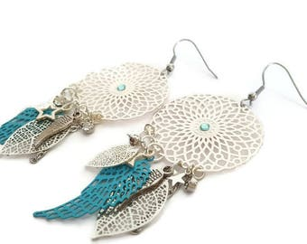 These prints, large, blue and silver angel wing, gift women, woman, fantasy, mother gift, Bohemian, love earrings