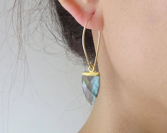 Gold Spear Gemstone Earrings - Gold Dangle Earrings - Labradorite Earrings