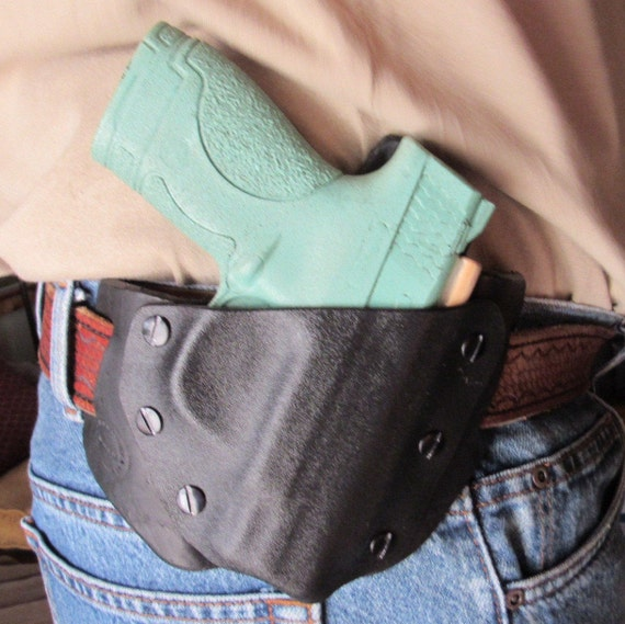 Leather and Kydex Hybrid custom crafted Holster for M&P Shield, EDC, OWB