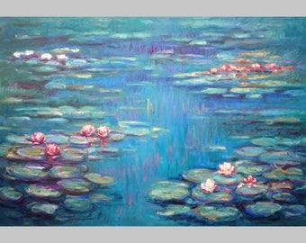 Claude Monet's technique - Lilies on Blue