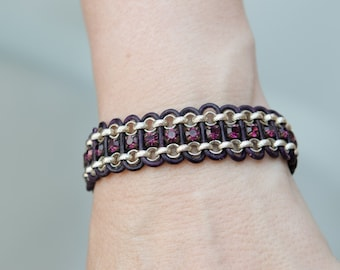 Silver rolor chain, deep violet leather and purple cup chain bracelet