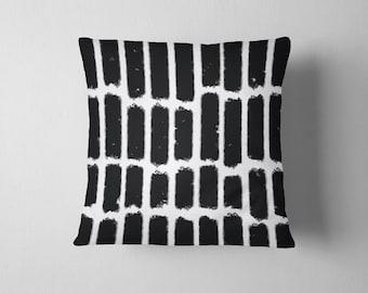 Black and white pastel stripe throw pillow