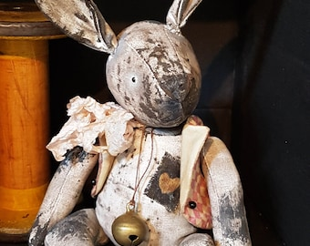 PRIMITIVE PAINTED BUNNY black and white