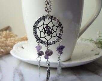Purple amethyst plumage for dream net leaf necklace  0368