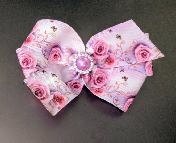 Rose Floral Hair Bow 4 inch Boutique Hair Bow  shabby chic Baby Toddler Girls Hair Bow Hair Clip Hair Accessories Women's Hair Clip