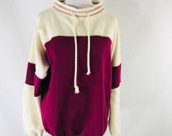 Vintage 80s St Johns Bay Red Beight Wide Neck Sweatshirt Drawstring Size Medium
