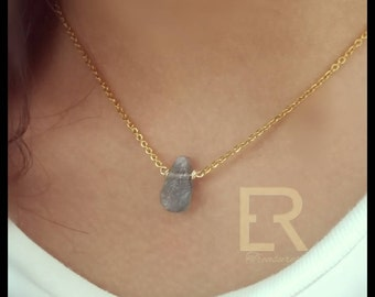 Labradorite Necklace ,Teardrop  necklace delicate necklace choker layering
