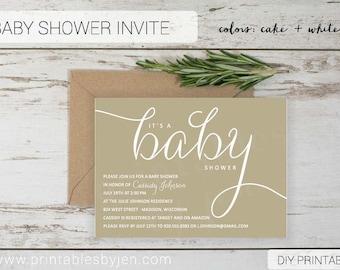 Baby Shower Invite | DIY Printable File | Sophisticated Design | Gender Neutral Taupe