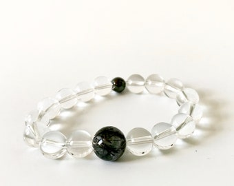 Tourmalinated Quartz & Magnetic Hematite Bracelet (3)