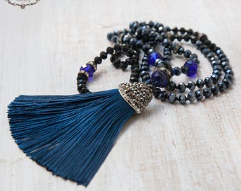 Silk Tassel Necklace, Blue Tassel Necklace ,  Blue Boho Chic Necklace, Gift for her by VintageRoseGallery