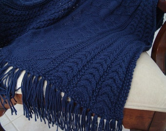 PATTERN - Wheatear, Diamond & Faux Cable stitches in Navy, PDF