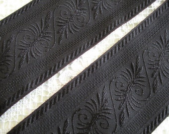 BLACK  and Black Embroidered RIBBON