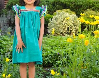 Girls summer dress, flutter sleeve green