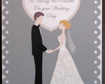 Personalized Wedding card with bride and groom - Wedding Anniversary card - custom wedding card
