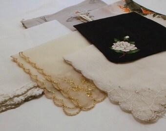 Vintage Ladies Handkerchiefs, Assorted Hankies in Gray Gold Silver and Black, 7 Pieces