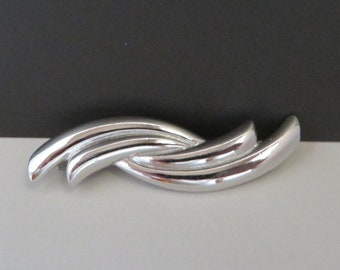 Monet Jewelry, Vintage Curved Brooch, Silvertone Twisted Pin, Signed Designer Brooch, Gift For Her