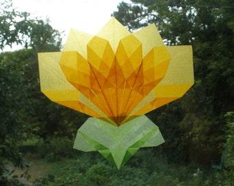 Yellow Flower Window Decoration (Similar to Translucent Waldorf Window Stars)