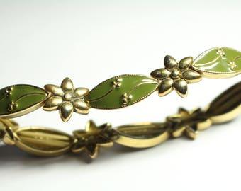 Green and Gold Enamel Bracelet Sretch Bracelet