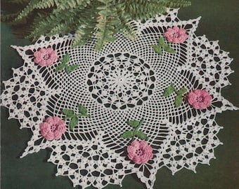 Vintage Beautiful Irish Rose Doily Crochet Reproduction Pattern PDF Instant Download