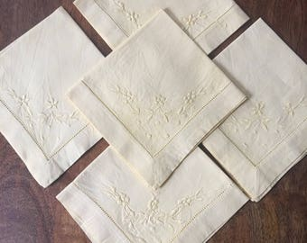 5 Buttercup Yellow Embroidered Napkins