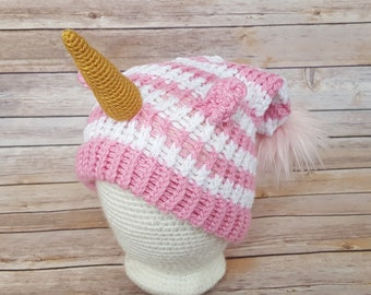 Pink Striped Unicorn Hat, Unicorn Hat, Knitted Unicorn Hat, Knit Unicorn Hat, Knit Unicorn Beanie, Unicorn Lover Hat, Cosplay Unicorn Hat