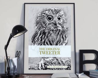 Funny owl - the orginal tweeter - gift for twitter fans