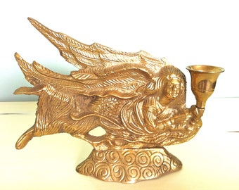 Brass Angel Candle Holder/Brass Flying Angel/Brass Angel/Large Brass Angel Candle Holder/Large Brass Angel/Flying Angel/Vintage Brass Angel