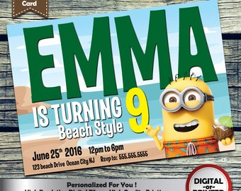 Minions Beach birthday invitation - personalized printable invite for any age girls or boys birthday party - includes free thank you card