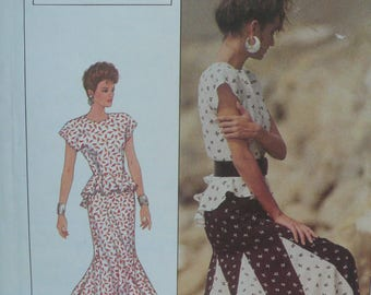 Womens Dress Pattern (2 piece), Peplum Top from the Sherry Holt Collection - Vintage Simplicity 8555 - Size 12-16, UNCUT