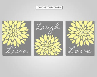 Dahlia Flower Burst Live Laugh Love Wall Art - Live Laugh Love Wall Decor - Yellow, Grey - Flower Wall Art - Prints - Canvas - Printable