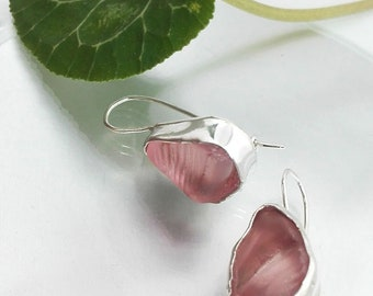 Pink Sea Glass Earrings, Earrings Pink,  Pink Glass Dangles, Beach Glass Earrings, Light Pink Earrings, Handcrafted Earrings, Gift for Mom