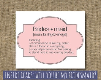 Will You Be My Maid of Honor   Ask Bridesmaid   Will you Be My Bridesmaid   Bridesmaid Invitation   Witty Wedding Party Card   Rock Candie