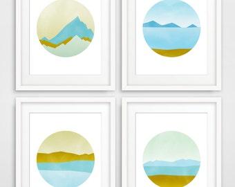 Wall Art Set of 4 Prints, Abstract Art, Wall Decor Living Room Bedroom, Abstract Wall Art Prints, Mid Century Wall Art, Abstract Prints