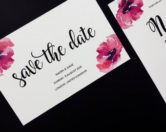 Floral Save the Date - Elegant Save the Date - Calligraphy Script Save the Date - Classic Save the Date - Wedding Save the Date Card