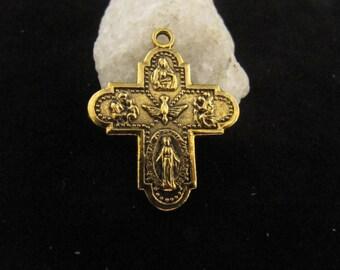 Gold Scapular Catholic Medal