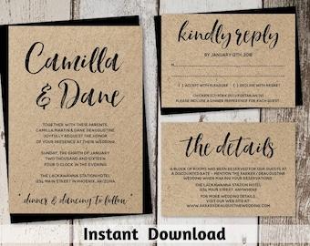 Wedding Invitation Template - Rustic Brush Script Printable Set - Kraft Paper | Editable PDF Instant Download Digital File Suite