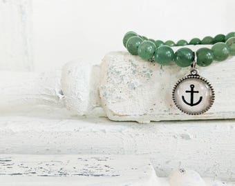 Anchor driftwood genuine gemstone stretch bracelet