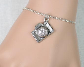 camera bracelet, sterling silver filled, silver camera charm with crystal lens, photographer, wedding photographer gift, adjustable bracelet
