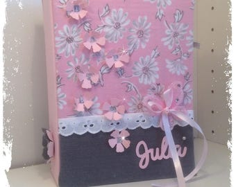 """Flowers"" baptism guestbook taupe and pink powder multipochettes a5"