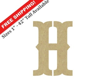 Decorative letter h etsy wooden wall letter h unpainted decorative font perfect for crafts altavistaventures Choice Image