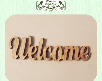Welcome -  (Large ) Wood Cut Out -  Laser Cut