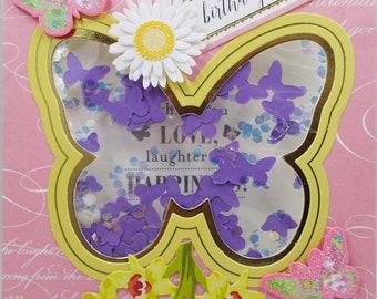 Birthday Wishes Yellow Butterfly Shaker Card 2018 Card Handmade