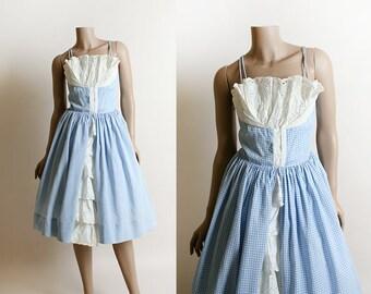 Vintage 1950s Dress - Sky Blue Gingham Sundress - 50s Dorothy Gale White Eyelet Fan Shelf Bust - Ruffle Skirt - Small