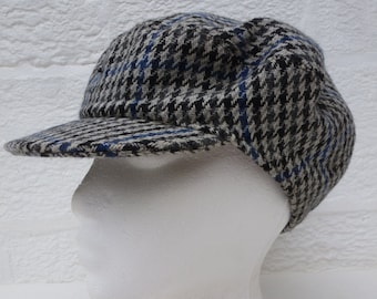 Small size Hat heritage newsboy cap vintage 1960s wool flat cap houndstooth hat vintage handmade girls newsie hat small cabbie cap wool hat.