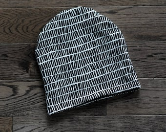 Reversible Slouchy Beanie - Black and White Ladder Print Slouchy Beanie for Baby, Toddler, Child - Reversible to Black or White